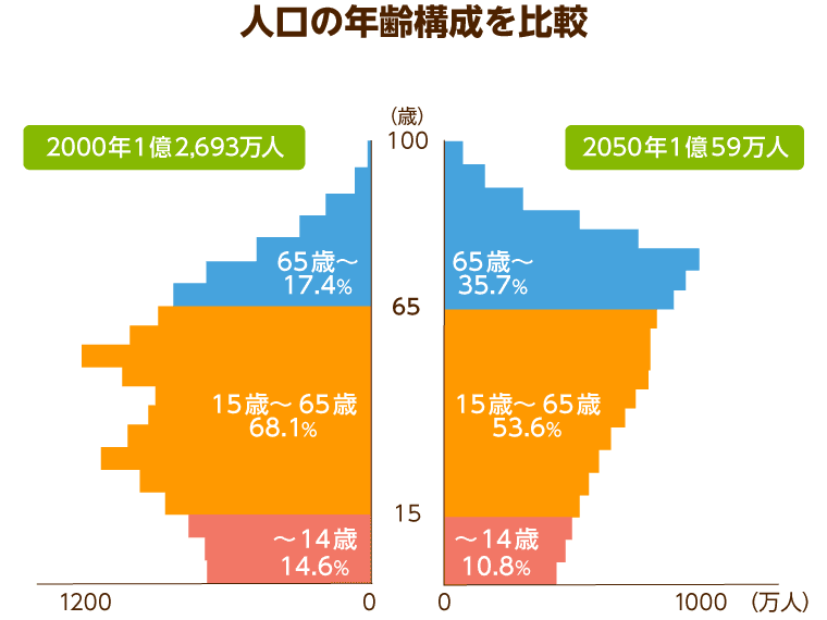 人工の年齢構成を比較